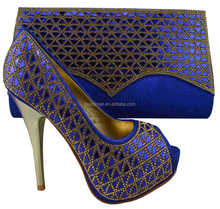 AB8327#4 Royal blue italian shoes and bag set/shoes and bags made in italy
