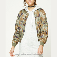 Woman casual Camo Print Bomber Jacket