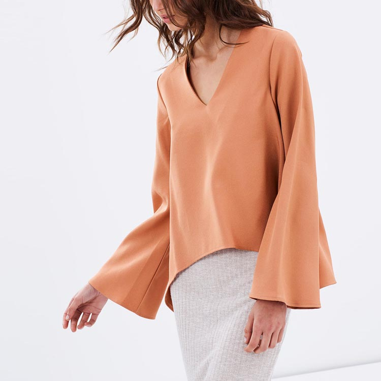 Women Blouse 2016 Women Tops Casual Flared Sleeves Blouse Blusa Lady Top JDL089