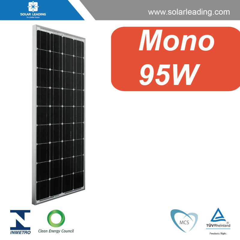 Factory directly 95w solar mono panel with tempered glass for flat roof solar mount system