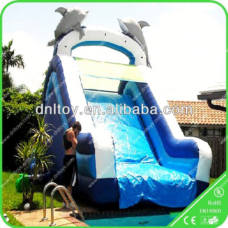 Dolphin inflatable slide games for backyard pools