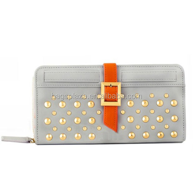 Double layer old fashion lady Wallet PU with gold buckle and rivet WA6012