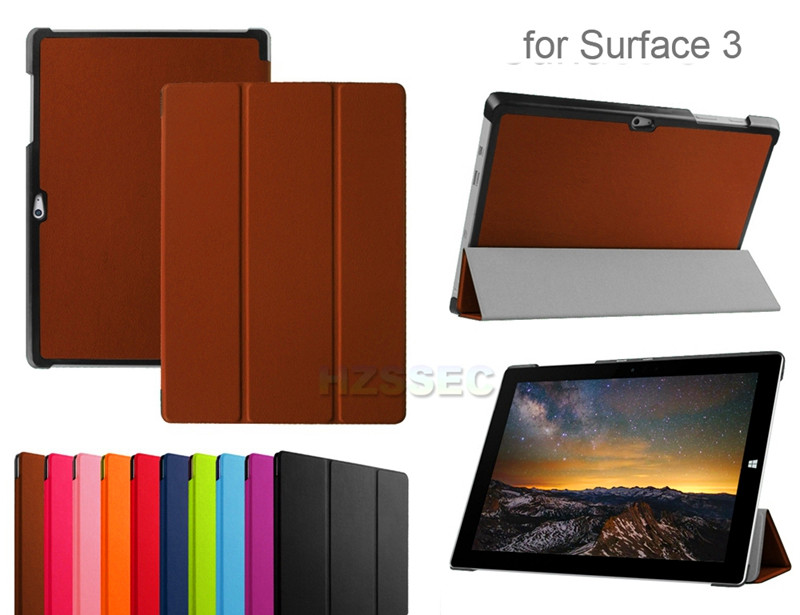 Dual Layer Stand Folio Leather Cover Premium Laptop Sleeves Lightweight Case For Microsoft Surface 3 10.8 inch (Grey Coffee )