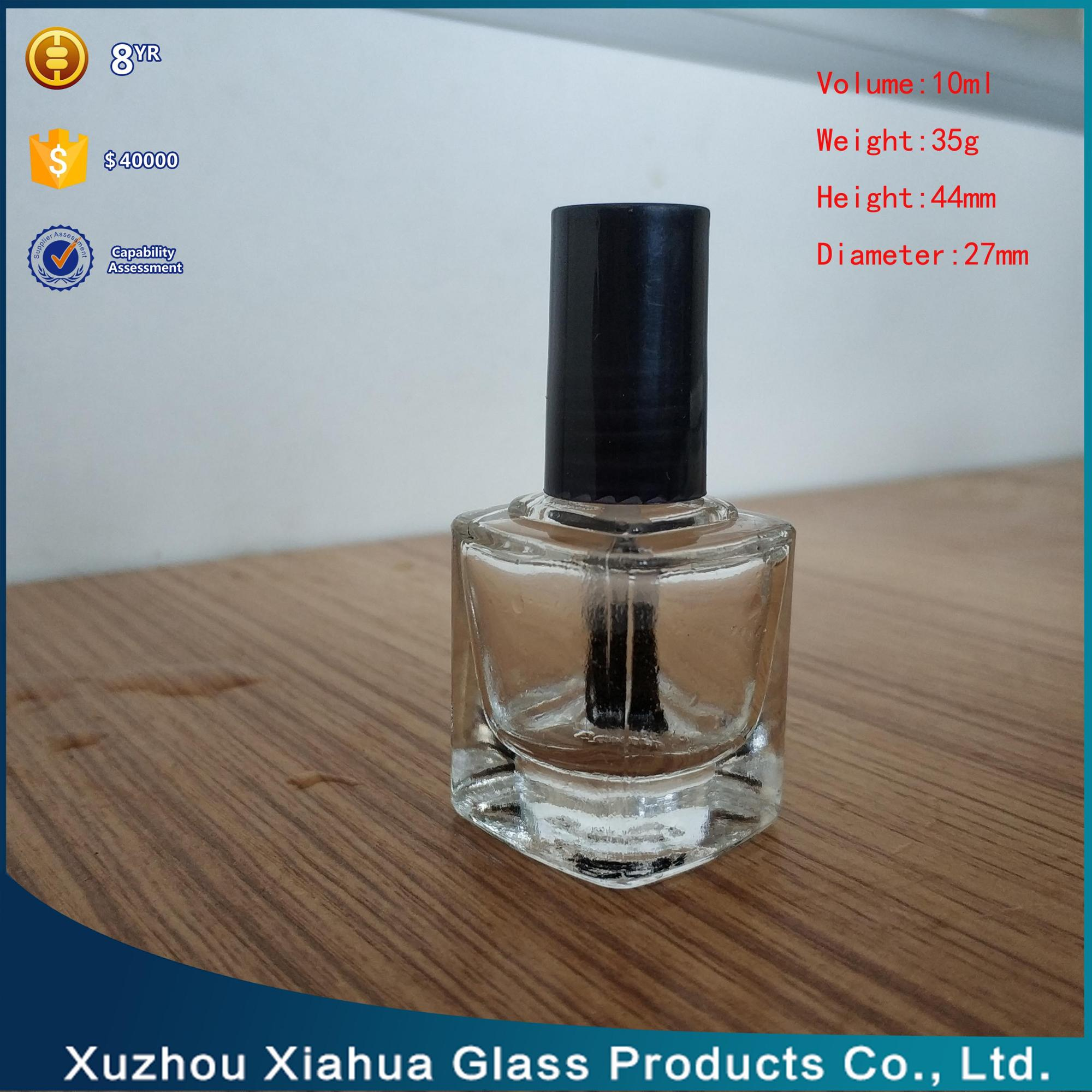 10ml Square transparent clear nail polish oil glass bottle with black screw cap
