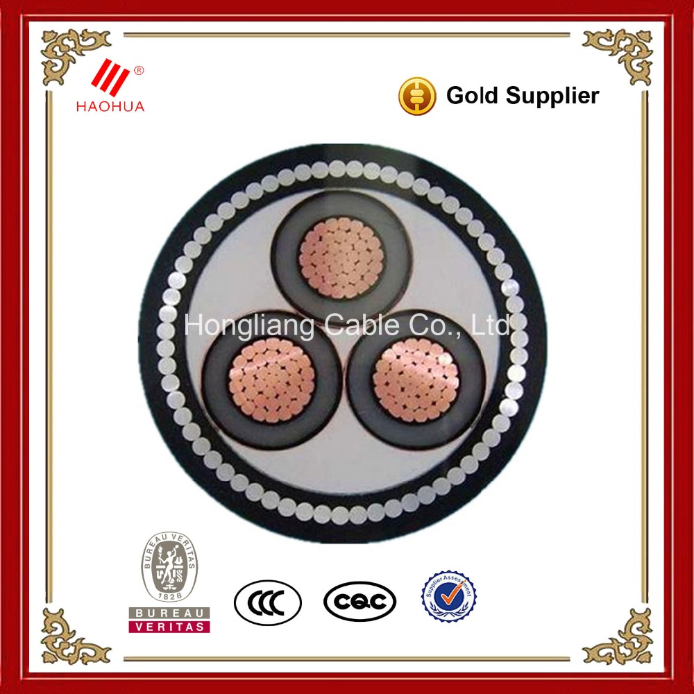 No.0286-- Medium voltage SWA Three phase 3 core Electrical Copper conductor XLPE 8.7/15kV MV power 150mm2 cable