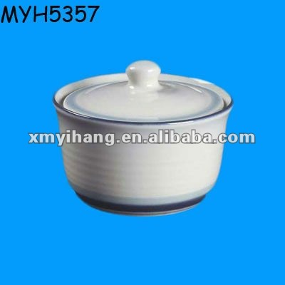 White painted ceramic butter tub with lid cover