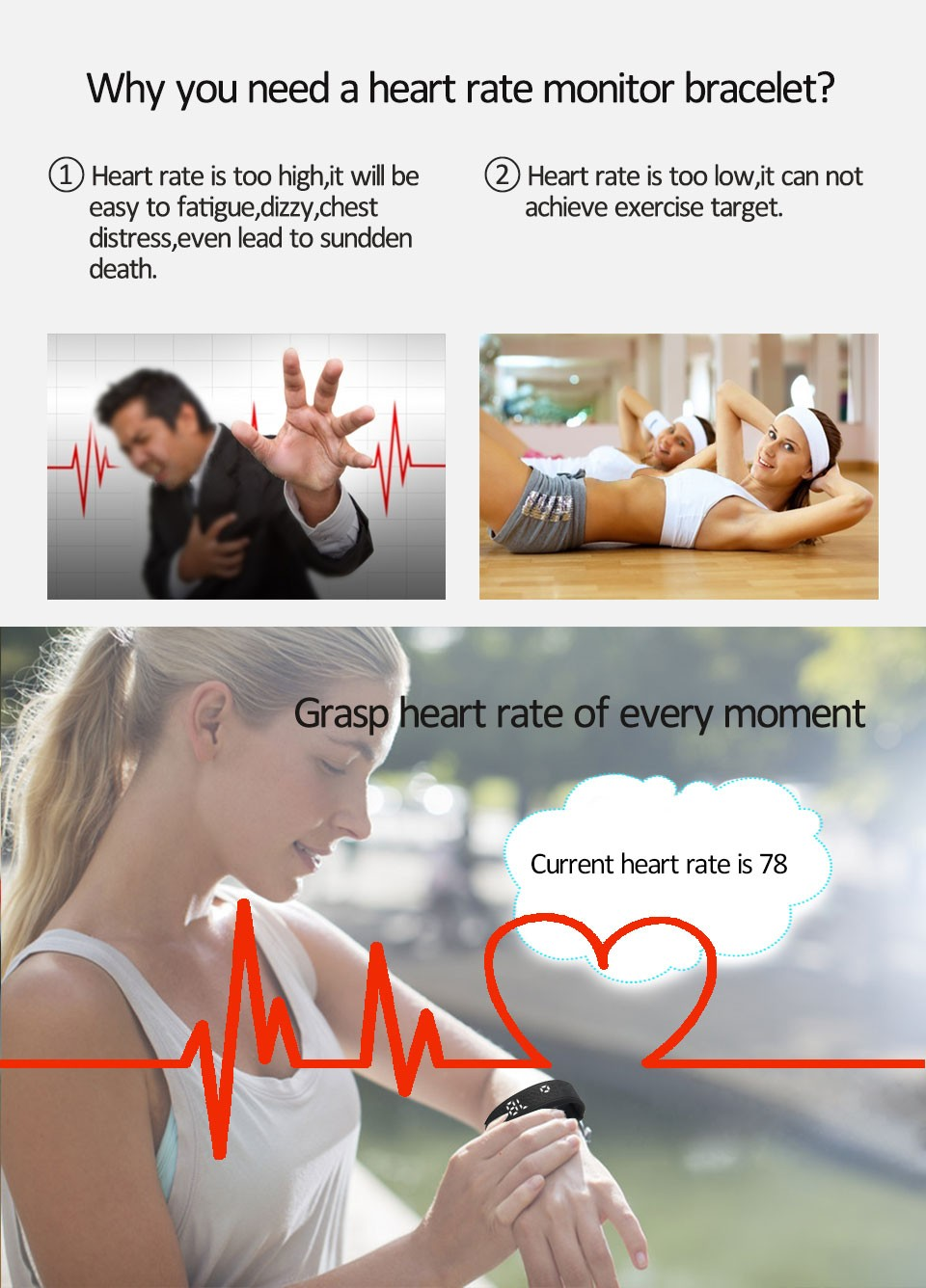 CE vibration alarm heart rate monitor step tracke 3d pedometer fitness band
