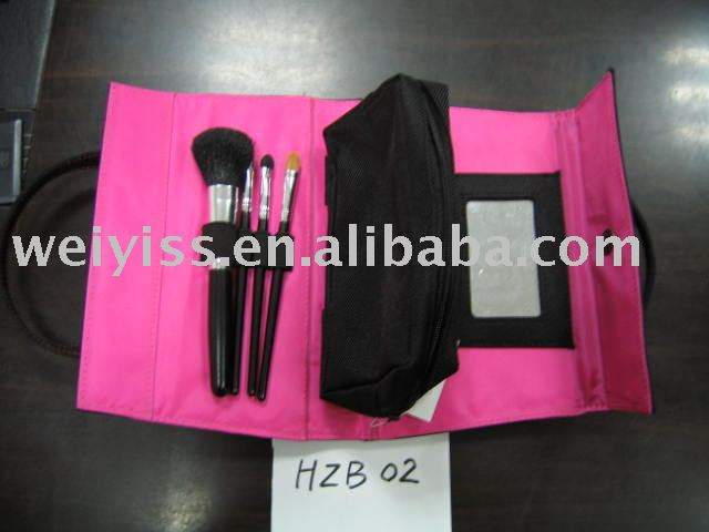 pretty pink roll up brush cosmetic bag
