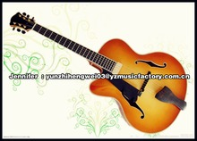 yunzhi left hand handmade solid wood hollow body archtop electric guitar