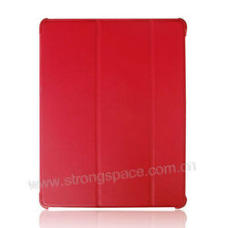 Red Lychee Skin PU leather case for apple ipad 4