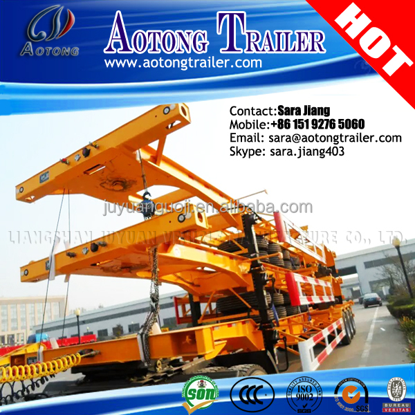Philippines market second hand/USED 3 axles skeleton container 40ft transporting trailer chassis for Manila port