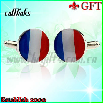 2013 New and quality products!Silver plated cheap flag cufflinks with epoxy for wholesale