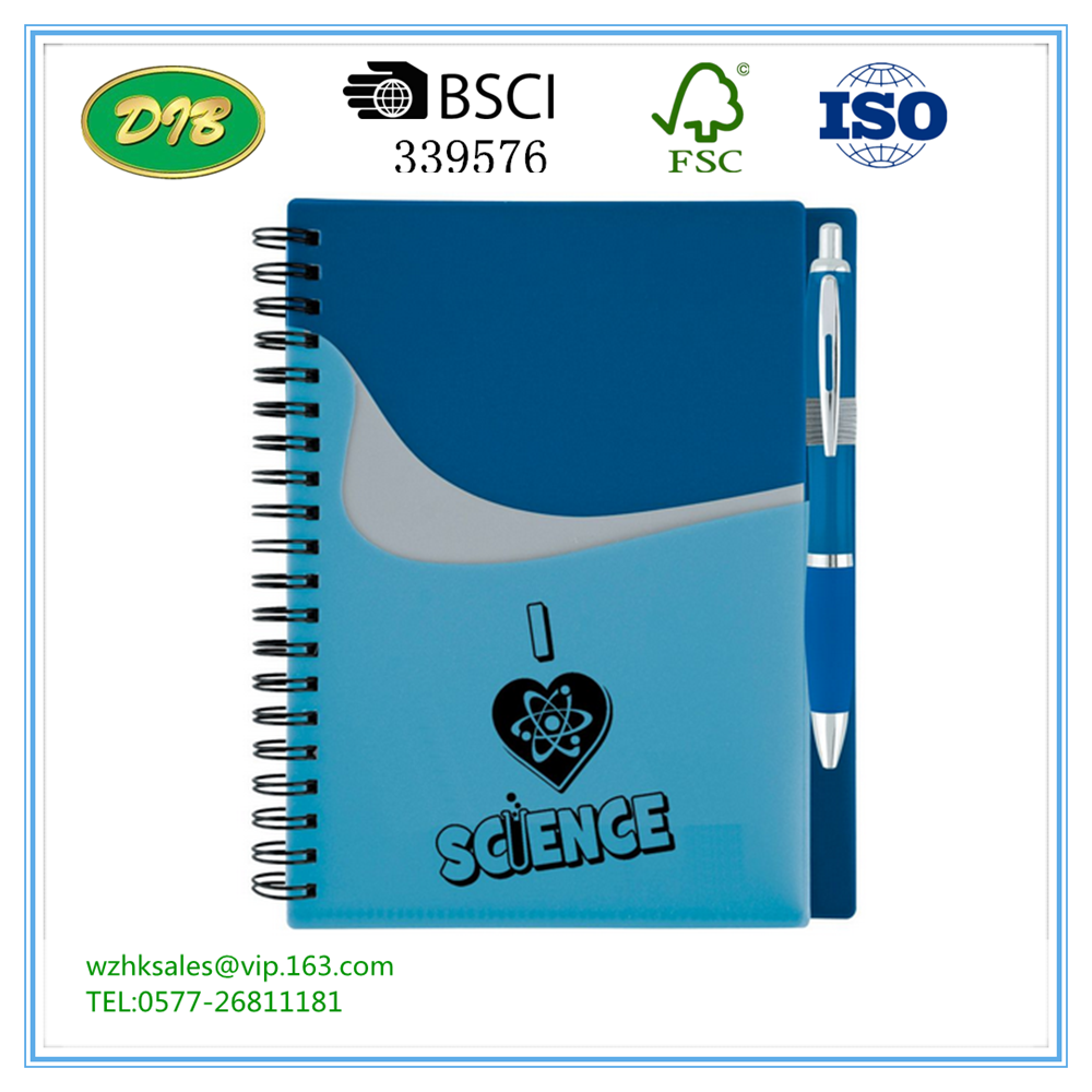 Promotional Wave Pocket Buddy Notebook & Pen With Inside Pocket To Hold Business Cards