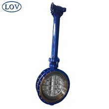 High Performance Sanitary Stainless Steel Double Flange Triple Offset Long Extension Stem Butterfly Valve