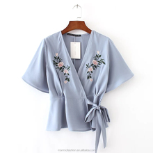 monroo 2017 Fashion Women Flower embroidery Kimono Shirts Short sleeve Blouses Summer style Casual Tops chemise femme blusas