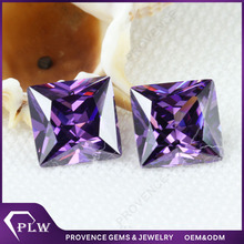 Square shape princess cut synthytic violet loose cubic zirconia gems