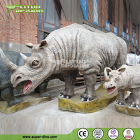 Zoo Decoration High Quality Animatronic Animal Rhinoceros Model