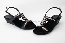 latest fashion weave rhinestone low wedge sandals for women