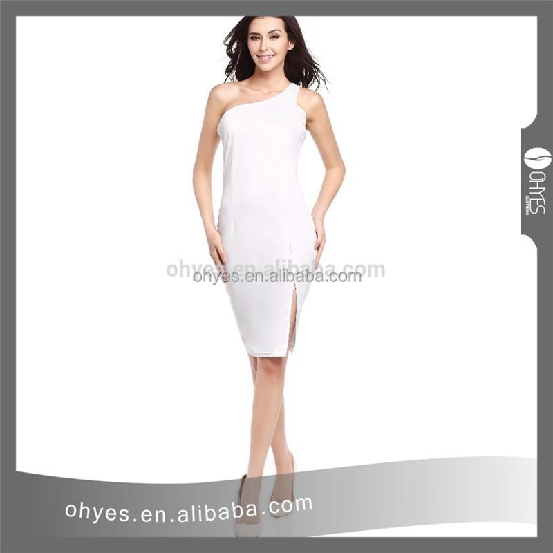 Cheap price white long dress new single shoulder lady dress cotton design