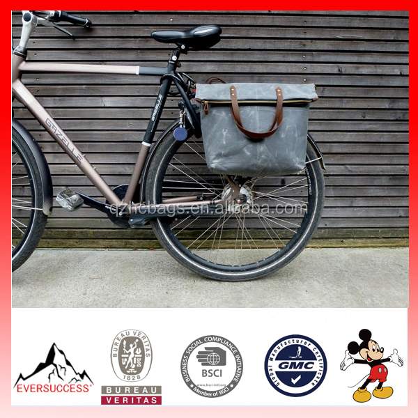High Quality Fashion Waxed Canvas Bike Pannier Bag Tote Bag with Leather Strap (ESX-LB185)