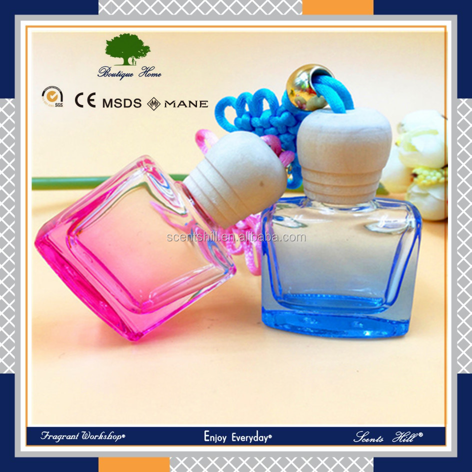 Newly designed recyclable square glass car air refresh beauty bottle with great price