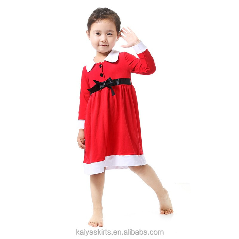 New design princess cotton fancy frocks red long sleeve party baby dress for girls