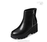 Hot cake cowskin round toe wedge boots for ladies