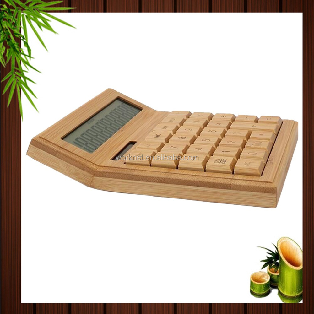 Fashion Christmas Gift Eco Friendly 12 Digital Desktop Bamboo Solar Calculator