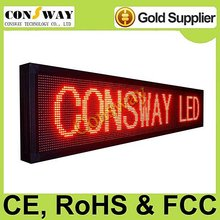 CE approved outdoor advertising led display screen with red color and size 200*40cm