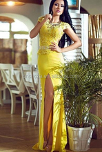 Z50815B unique elegant lady yellow maxi evening dresses young women prom dress