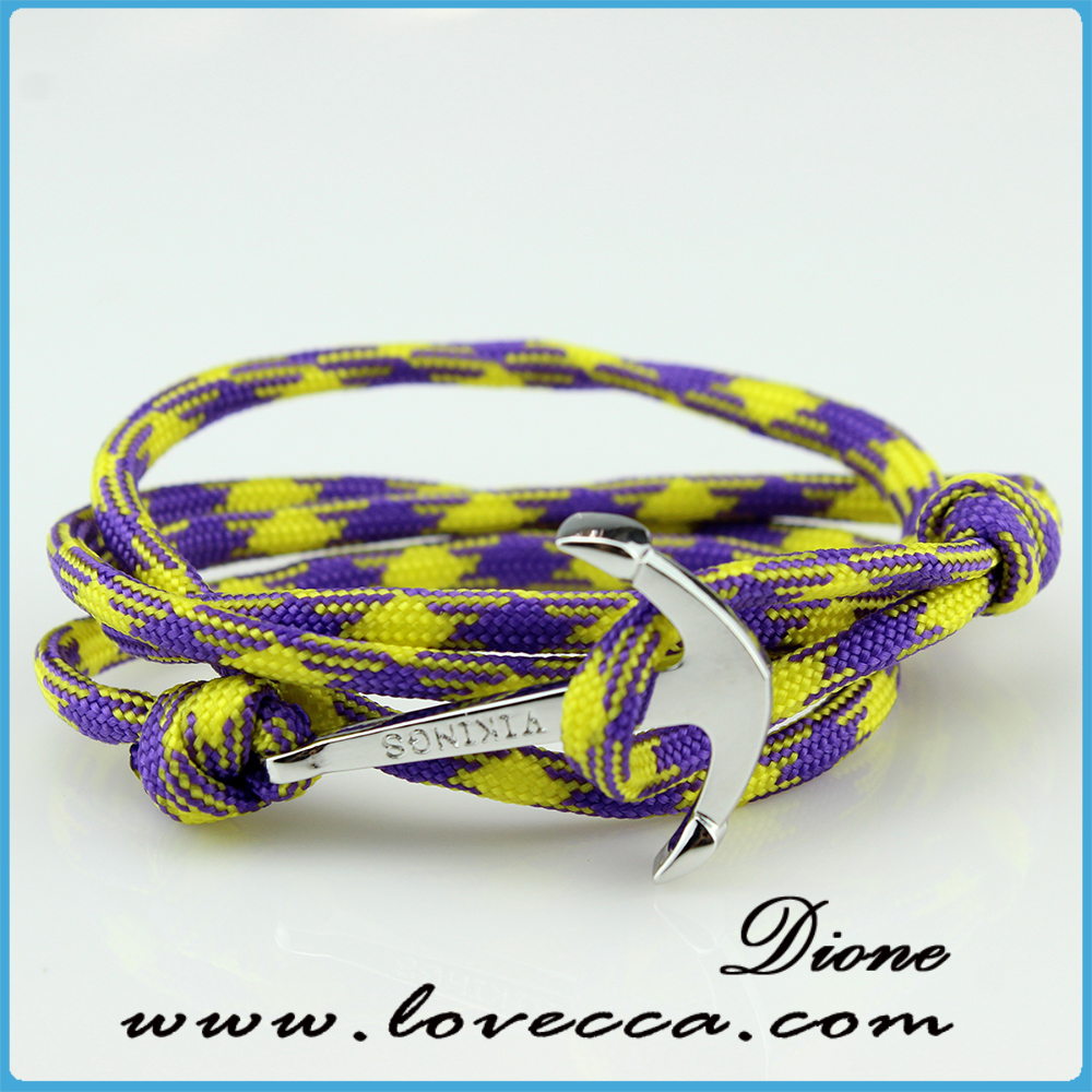 Hot fashion anchor or fish hook bracelet cotton rope mens for African rope fish