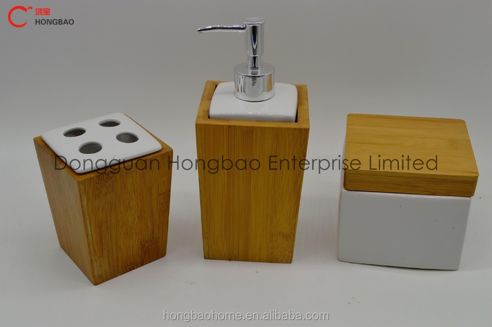 Bathroom Accessories Bamboo bamboo bathroom accessories set/lotion bottle toothbrush holder