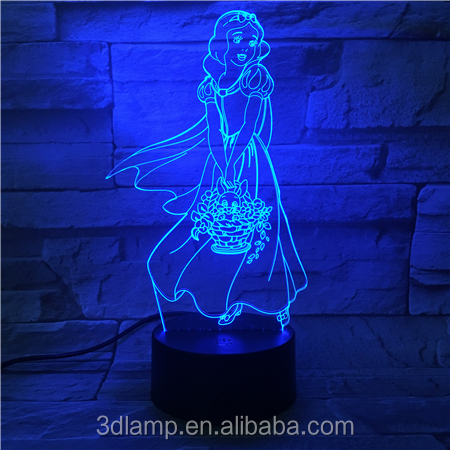 3D lamp Illusion Lamp,7 Colors Changing Lights with Acrylic Flat-ABS Base & USB Charger for home decoration and children gift