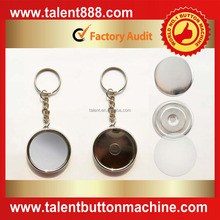 double sides plating keychain with mirror & button