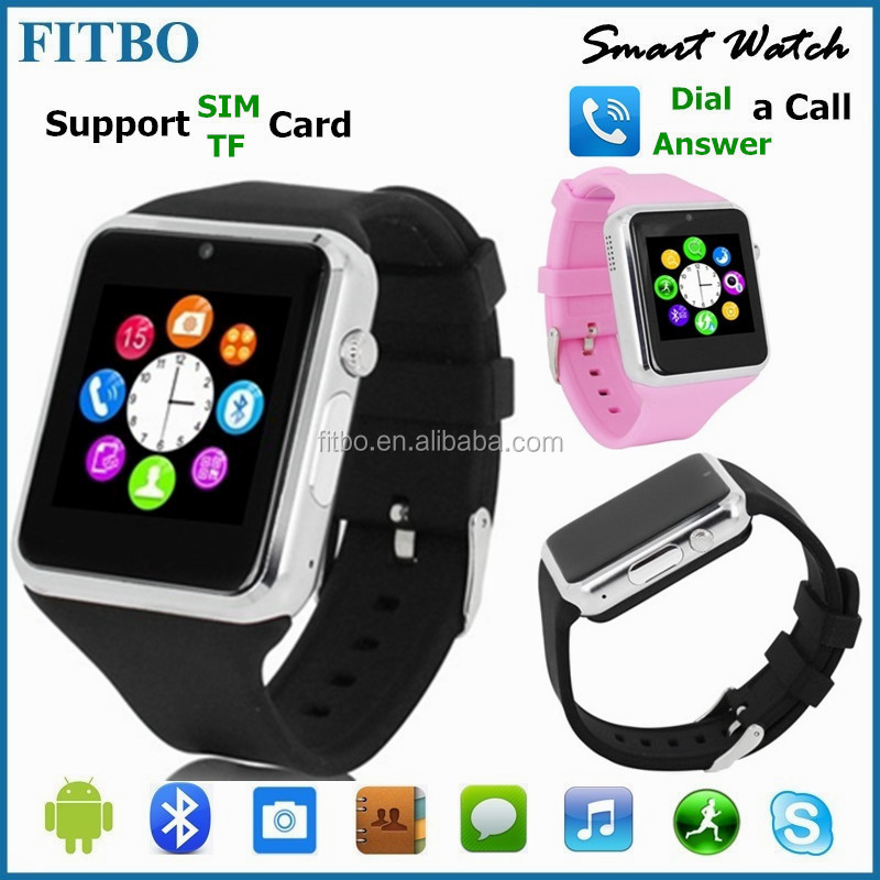 2016 wrist watch cell phone for Samsung Galaxy S4 S5 S6, Pedometer Camera