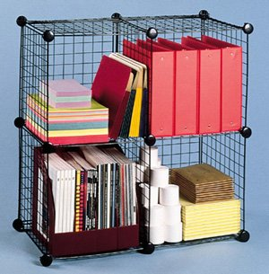 Metal Wire Grid Storage Cube and Modular Shelving