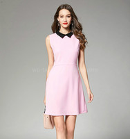 Ladies Casual Sleeveless Lapel Pink A Line Dress