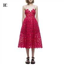 Hollow Out Long Dresses Casual Clothing Women Sexy Bohemian Lace Dresses for Women