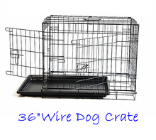 "36"" Dog Cage Pet Crate Puppy Cat Foldable Metal Kennel Portable Tray"