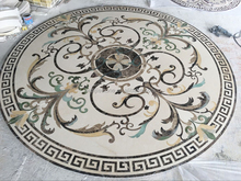 Ancient round water jet marble floor medallions