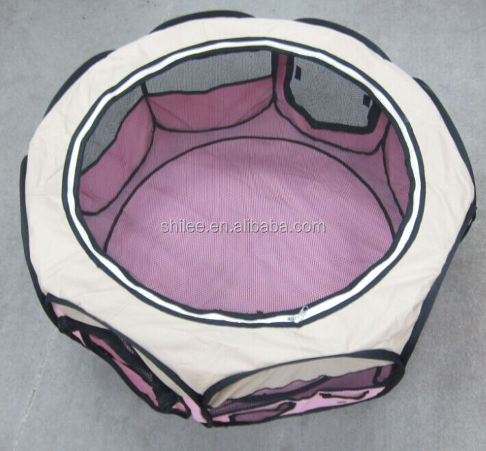 Foldable round pet play pen with 8 panels