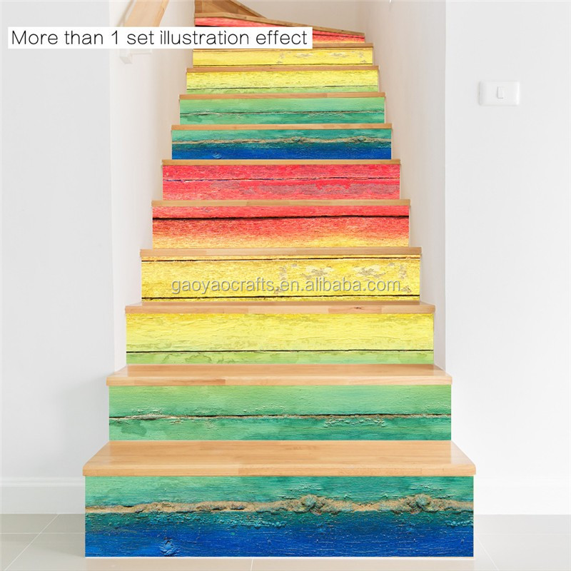 3D Creative color wood grain decoration self-adhesive staircase stickers renovation stairs DIYwaterproof stair stickers