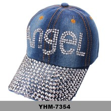 Women Rhinestone Crystal ANGEL BULL JEAN DENIM Sparkle Baseball Bling Hat CAP