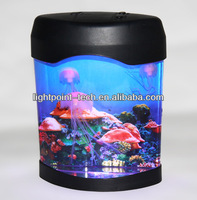 Mini Fish tank for sales with USB and 5 Colour Changing Led Light Mood Jelly Fish light up Tank and coffee table fish tank