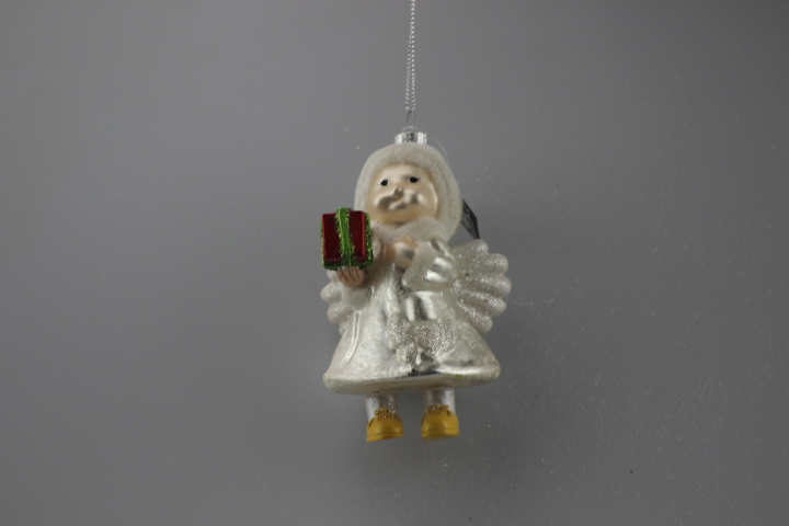 angel with gift figurine hanging for christmas decoration