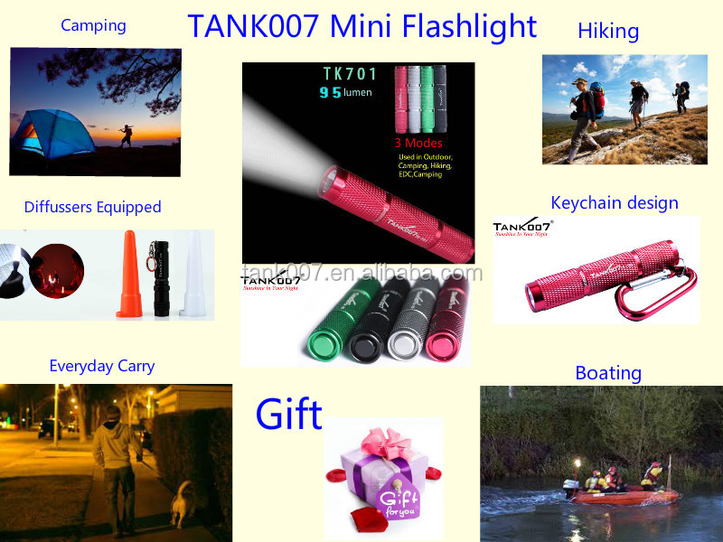 Special design China <strong>manufacturer</strong> produce mini high-end gift keychain flashlight TANK007 TK701