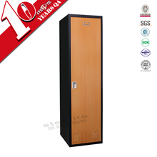 china made cherry wood color bedroom furniture set / single door classic look steel wardrobe
