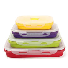 4pcs/set bento box microwave oven safe eco-friendly biodegradable silicone lunch box