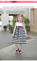 Girl-Chevron black dress Zebra striped skirt The little girl's Mini Dress prom dresses 2015