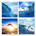 Dolphin Photo Canvas Wall Art Modern Group Canvas Painting for Home Wall Decoration Seascape Framed Art Printed on Canvas